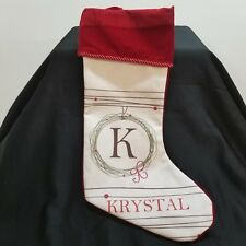 Personalized Christmas Stocking Krystal Letter K Red