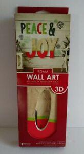 """Peace & JOY"" DIY Peel and Stick Christmas 3D Foam Wall Art 4.875""x 27.5""  NWT"