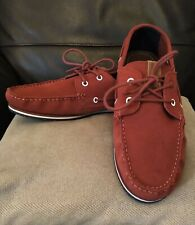 Tommy Hilfiger Red Suede Deck Boat Shoes Preowned