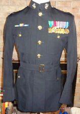 USMC OFFICERS US MARINE CORPS UNIFORM DRESS BLUES JACKET Sz 48 LONG Medals L@@K!