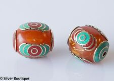 Tibetan Amber Beads with Turquoise and Coral inlay Handmade Nepal 27 mm