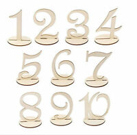 10pcs Wooden Table Numbers Stick Set w/ Holder Base For Wedding Birthday