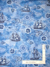 Nautical Sail Ship Blue Cotton Fabric Timeless Treasures Beach C6659 By The Yard