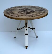 Vintage wooden table nautical anchor style & tripod stand coffee tea home decor