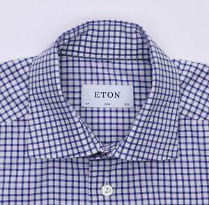 Eton Slim Fit Dress Shirt Men's Size 15 1/2 - 39cm White w/Blue Grid Checks