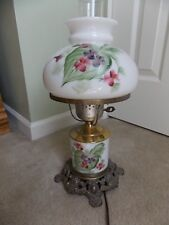 "Vintage Gone With The Wind Lamp Milk Glass 17"" High Hand Painted Shade & Base"