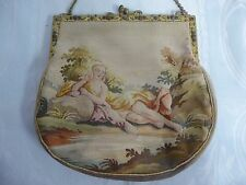 ANTIQUE FRENCH NEEDLE PETIT POINT TAPESTRY PURSE-SEMI NUDE-JEWELED ENAMEL FRAME