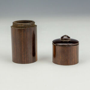 Antique Turned Rosewood - Miniature Pocket Travel Inkwell