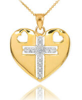 Solid 14K Two Tone Yellow Gold Heart Cross Diamond Pendant Necklace