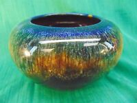 GORGEOUS Vintage ART POTTERY BOWL Hand Thrown MULTICOLORED Drip Glaze ZANESVILLE