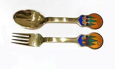 A. Michelsen Gilt Sterling & Enamel Christmas Fork & Spoon-Jul 1979- Lars Akirke