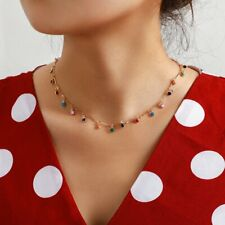 Boho Candy Color Ball Pendant Choker Necklace Clavicle Chain Charm Women Jewelry