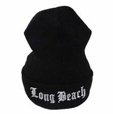 Long Beach Beanie Custom 3D Embroidery Yupoong Cuffed Knit Hat OSFA Black