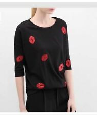 Embroidered Red Lip Black Cotton Top #A1285