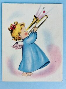 Norcross Signature 1940s A Cheerful Earful Angels Christmas Card Vintage Unused