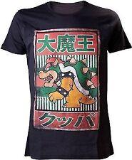 Nintendo Super Mario Bros Bowser With Kanji Text Mens T-shirt Black Large