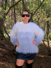 Women's Hand Knitted Mohair White Grey Fuzzy Sweater Jumper Blouse