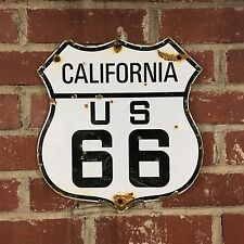 Porcelain Sign California Route Rt US 66 highway marker plate gas - reproduction