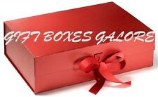 LUXURY GIFT BOX / KEEPSAKE SLOT BOX, A4 DEEP IN RED WITH CHANGEABLE RIBBON