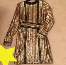 Heavy Gold Long Sleeved Belted, Embellished Sequin Dress With Chain Detail