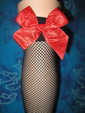 THIGH HIGH STOCKINGS Above the Knee Black Fishnet with Red Satin Bow Free Post