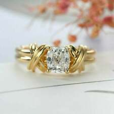 Ring 14K Yellow Gold Fn 0.50Ct Cushion Simulated Moissanite Solitaire Engagement