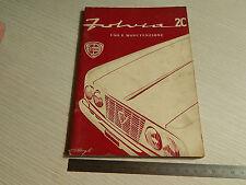 MANUALE USO MANUTENZIONE ORIGINALE 1964 LANCIA FULVIA 2C