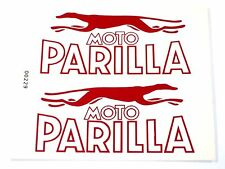 Moto Parilla classic motorcycle decals red and white on a clear peel and stick