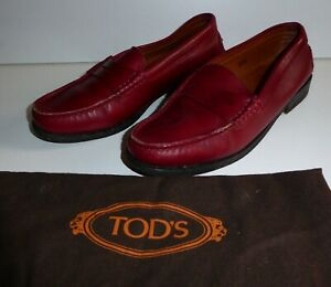 TOD'S DEEP RED LEATHER LOAFERS UK 2.5