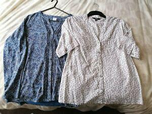 Two Ladies Size 14 Long & Short Sleeve Tops Blouse - Cotton Traders & Debenhams