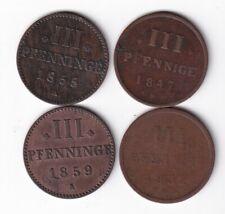 Mecklenburg-Strelitz 3 Pfennig 1832, 1847, 1855 und 1859 nsw-leipzig
