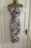 Womens Ladies New Floral Print Grey Bardot Evening Bodycon Dress Size 8 - 14