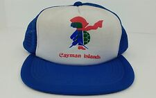 Vtg Cayman Islands Blue White One Size Adult Snap Back Mesh Trucker Hat Hipster