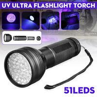 51LED UV Ultra Violet Flashlight Blacklight Light 395nM Inspection Lamp Torch