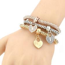 3pcs/Set Vintage Womens Cuff Bangle Rhinestone Heart Pendants Bracelets Jewelry