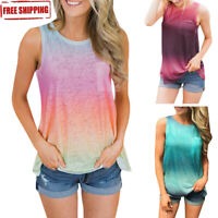 Summer Casual Women Gradient Sleeveless Loose T Shirt Tunic Blouse Top Vest HQY