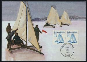 USA 2134 pair on Maxim Card - Iceboat