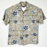 Havana Jacks Cafe Short Sleeve Hawaiian Shirt Brown Floral Rayon Mens Large