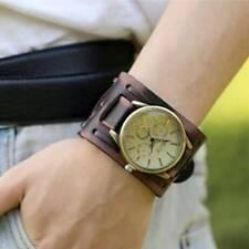 Unisex Punk Leather Bracelets Bangles Wrist Watch Wide Band Strap Quartz Watches