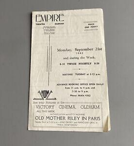 Empire Theatre Oldham - Programme 21/9/42