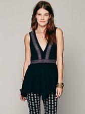 NWT Intimatley Free People Lace Inset Eyelet Tunic Vest Top Sz S Raw Edge