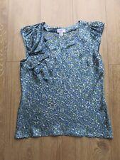 Ann Taylor LOFT Petites Cap Sleeve Blouse Blue Green Top Floral Large 14/16 £50