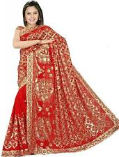 Wedding Women Sequin Embroidery work Saree Shari Sari fabric drape Bellydance G1