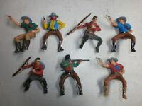 Konvolut 7 alte Elastolin Kunststoff Figuren Cowboys Reiter Wildwest zu 7.5cm