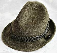 GERMANY-VINTAGE OKTOBERFEST DIRNDL OLIVE GREEN FEDORA HAT SIZE:US6 5/8EU53