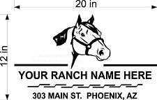 CUSTOM VINYL DECAL RANCH NAME HORSE HEAD ROPE BORDER