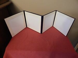 5 X 5 NAVY ART LEATHER ALBUM OFF WHITE MATTED 4 FRAMES NEW