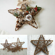 Retro Star Wreath Rattan Garland Hanging Wicker Wedding Christmas Home Decor