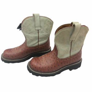 Ariat Womens Fatbaby Western Cowboy Boots Brown Gray Ostrich Leather Pull On 7B