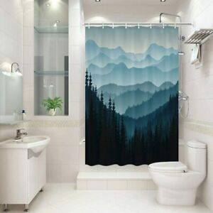 RV Shower Curtain for Camper Trailer Camping Shower Curtain & Hooks Set 47x64In